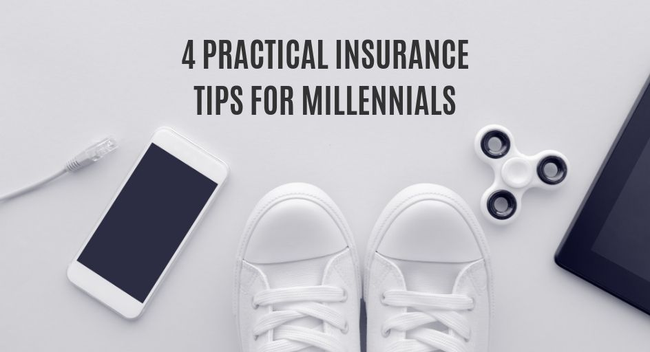 blog image of millennial accessories: smart phone, sneakers, fidget spinner. blog title: 4 practical insurance tips for millennials